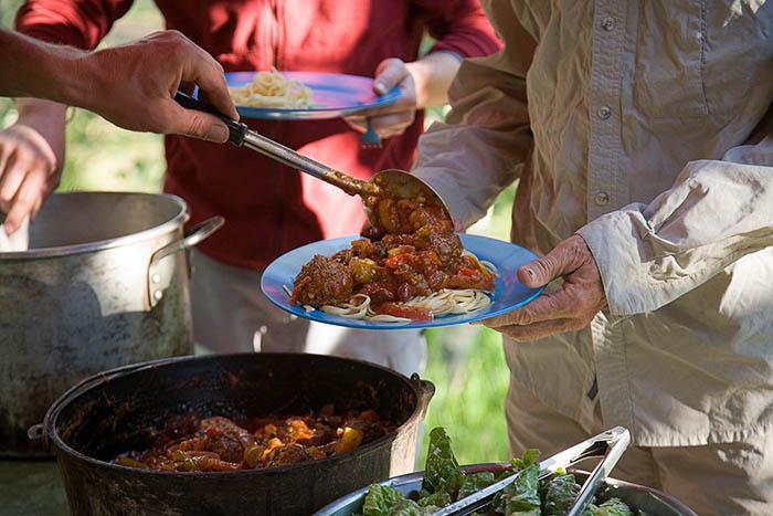 camp dinner, Rim Tours, Utah