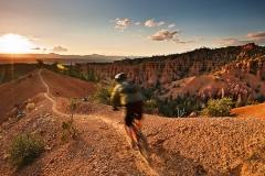 Chris Drew mountain biking on the Thunder Mountain trail, Utah.