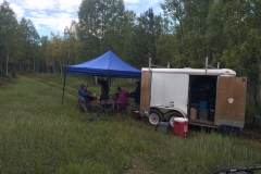 The van and trailer at lunch stop