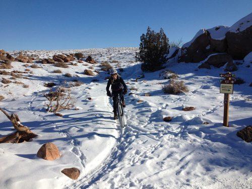 Snow on Lazy, Moab Mountain Bike Trail