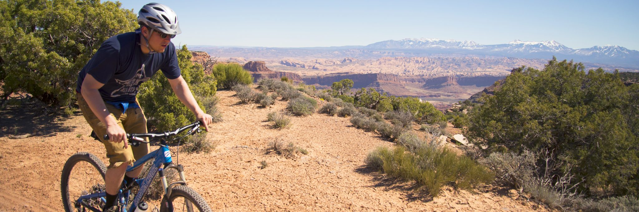 Rider on the Big Chief loop of the Dead Horse Point Singletrack guided mountain bike tour