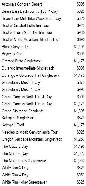 2018 MD Tour Prices