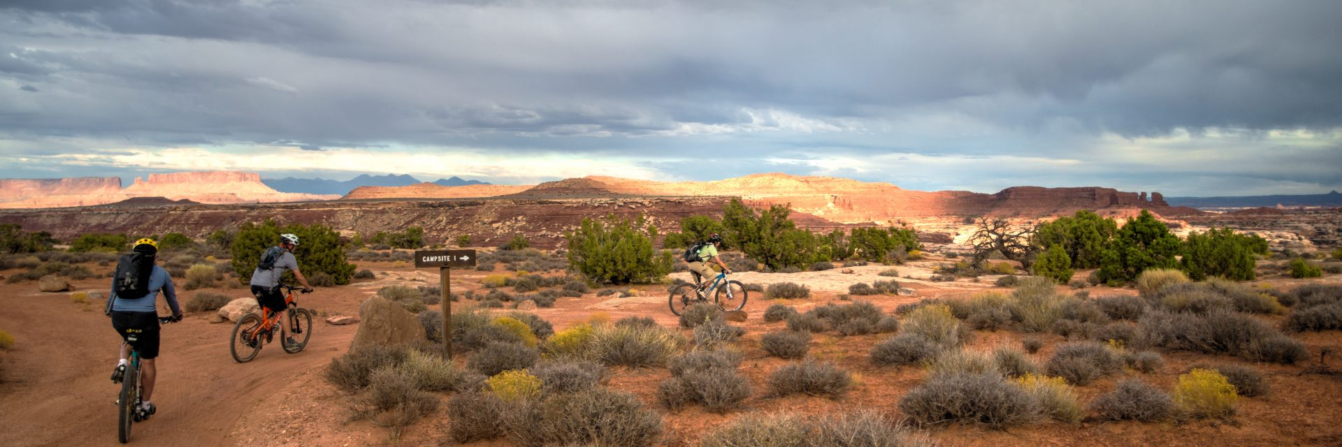 After a full day's ride, the group arrives at The Maze Overlook Campground in Canyonlands National Park