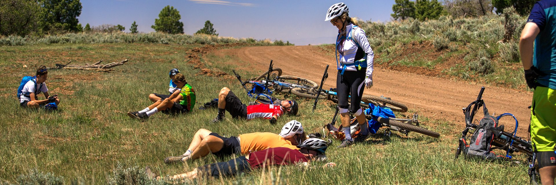 Bears Ears riders take a well deserved rest stop at the North Point intersection