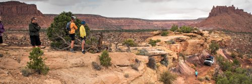 After camping at The Maze Overlook campground, the tour moves to Teapot Rock Campground which entails climbing back up the Golden Stairs