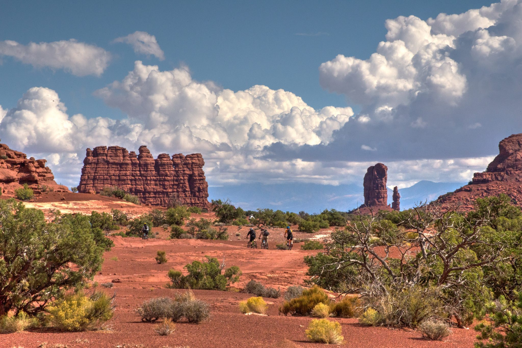 The ride out to Standing Rocks is one of the highlights, for many riders, on The Maze guided mountain bike tour in Canyonlands National Park