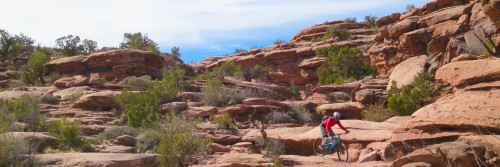 A rider drops multiple ledges on Captain Ahab, an advanced singletrack guided mountain bike tour west of Moab UT