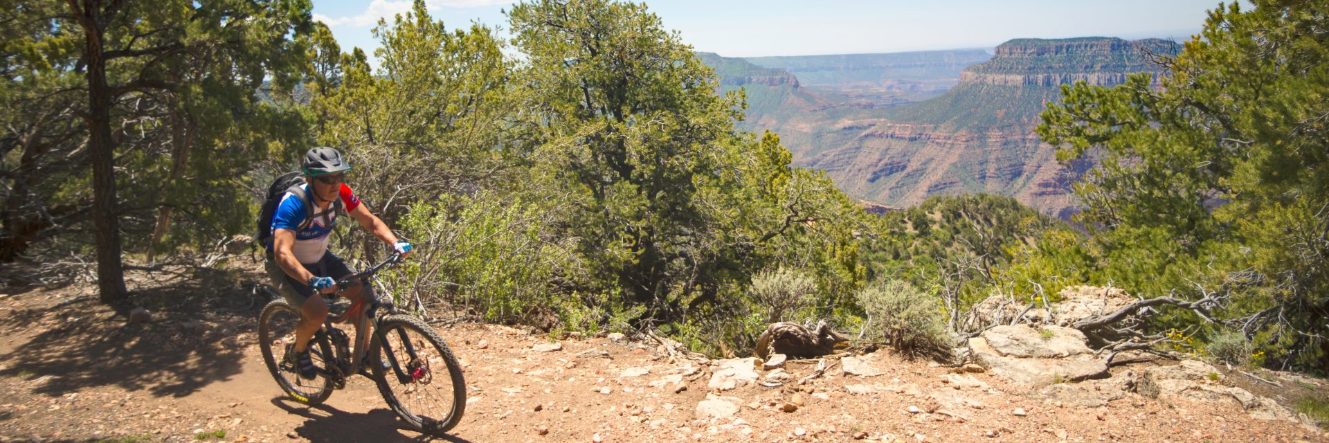 Arriving at Fence Point, Rainbow Rim Trail, North Rim Grand Canyon