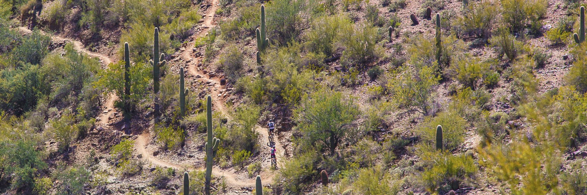 Two riders climb a steep section of intermediate singletrack on the new Black Canyon Trail in central Arizona during a multi-day camp-based guided tour