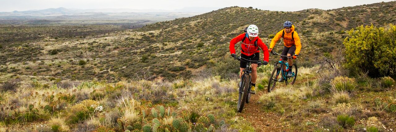Mountain bike riders on intermediate singletrack of the new Black Canyon Trail in Central Arizona north of Phoenix