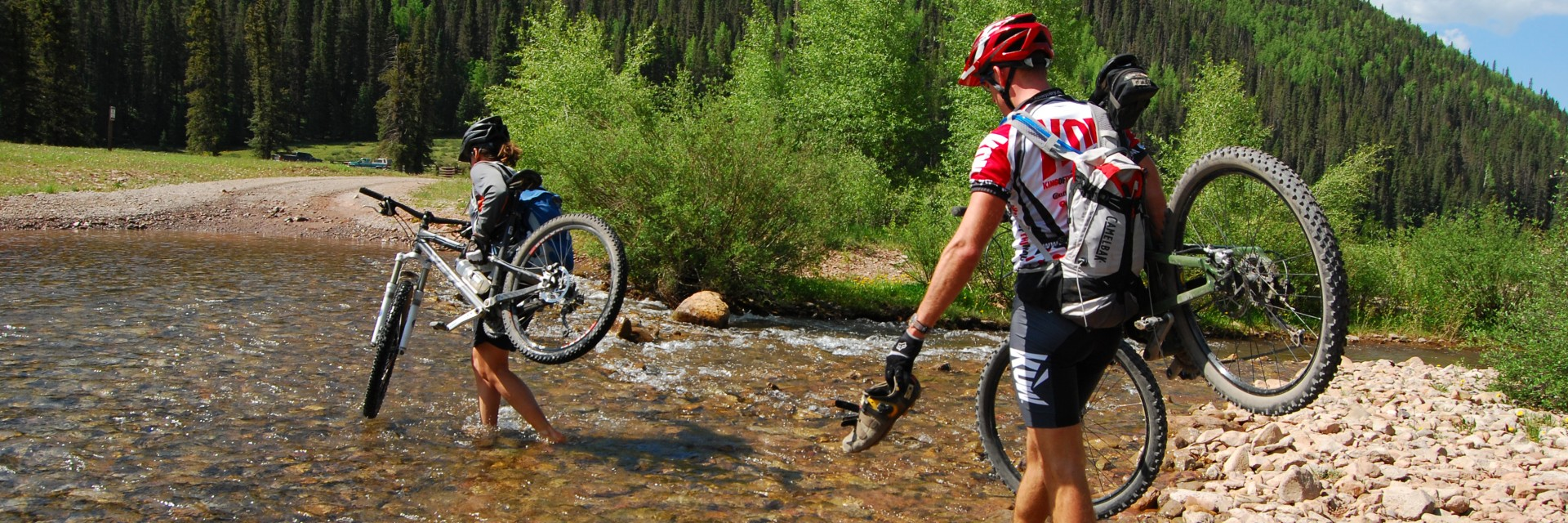 Fording stream on the Colorado Trail Singletrack - advanced mountain biking