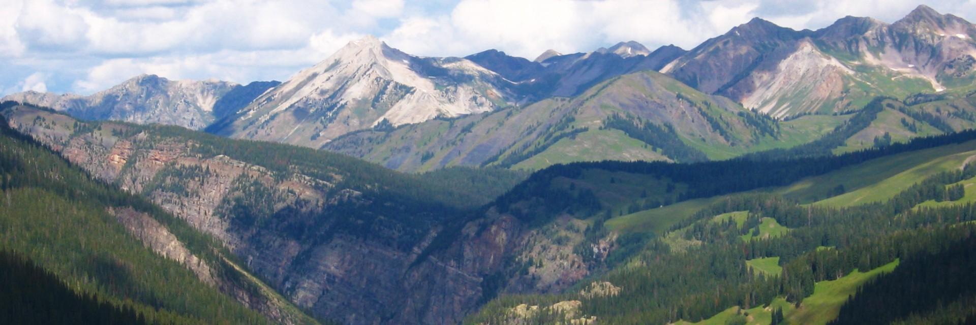 View from high in the San Juan Range, Colorado Trail, advanced mountain bike tour