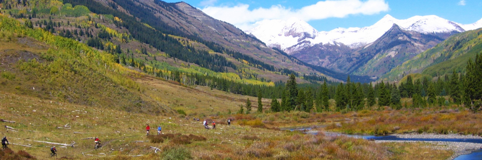 Approaching a creek crossing, Crested Butte Singletrack, guided mountain bike tour