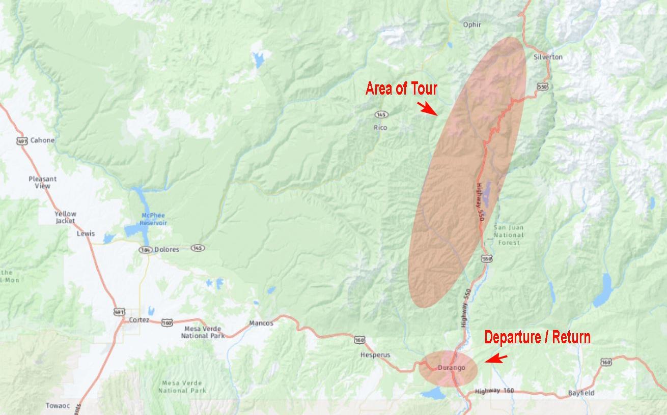 Durango-Colorado Trail Location Map
