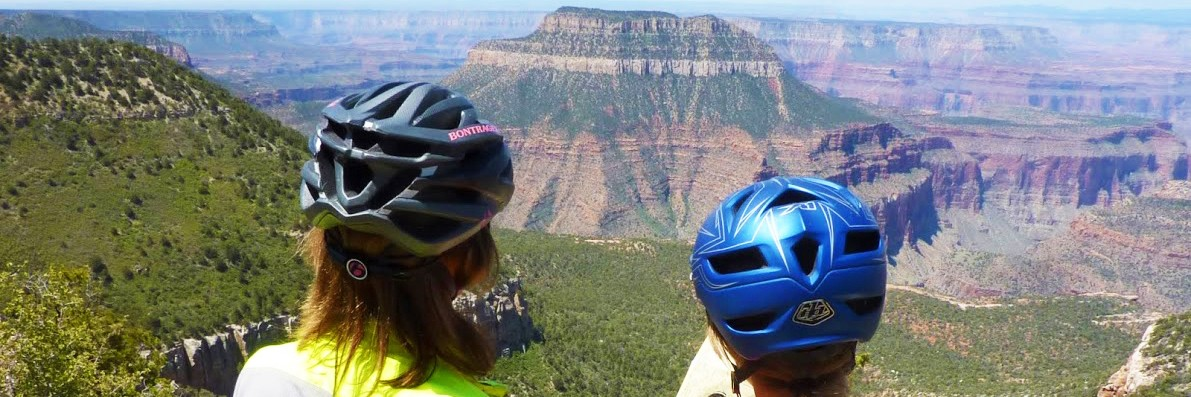 Mountain bike riders at Fence Point, North Rim of the Grand Canyon