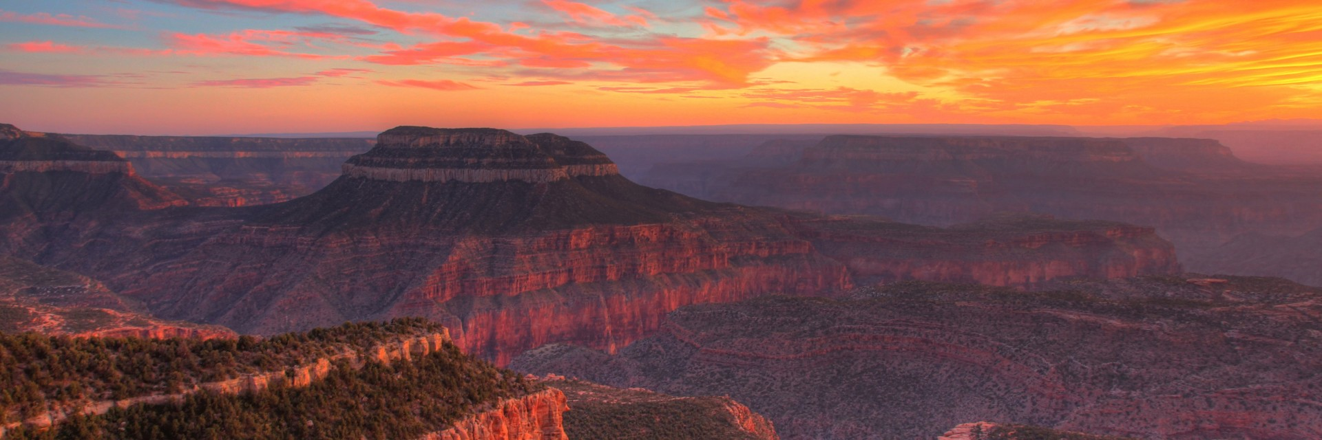 A sunset from Locust Point campground, one of the base camps on the 4 and 5-day North Rim of the Grand Canyon mountain bike tours