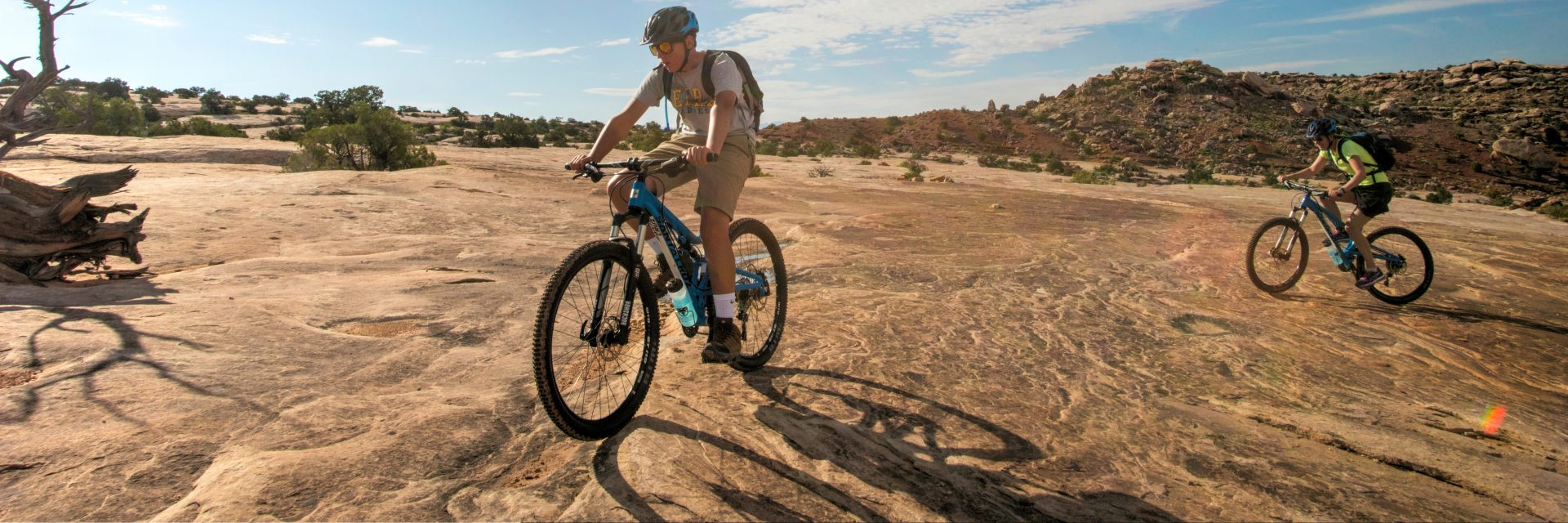 Klondike Bluff Trail's slickrock slab is smooth, perfect for moderate - intermediate mountain bikers