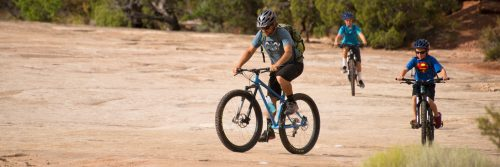 Rim Tours mountain bike guides are skilled at helping youngsters learn the ropes