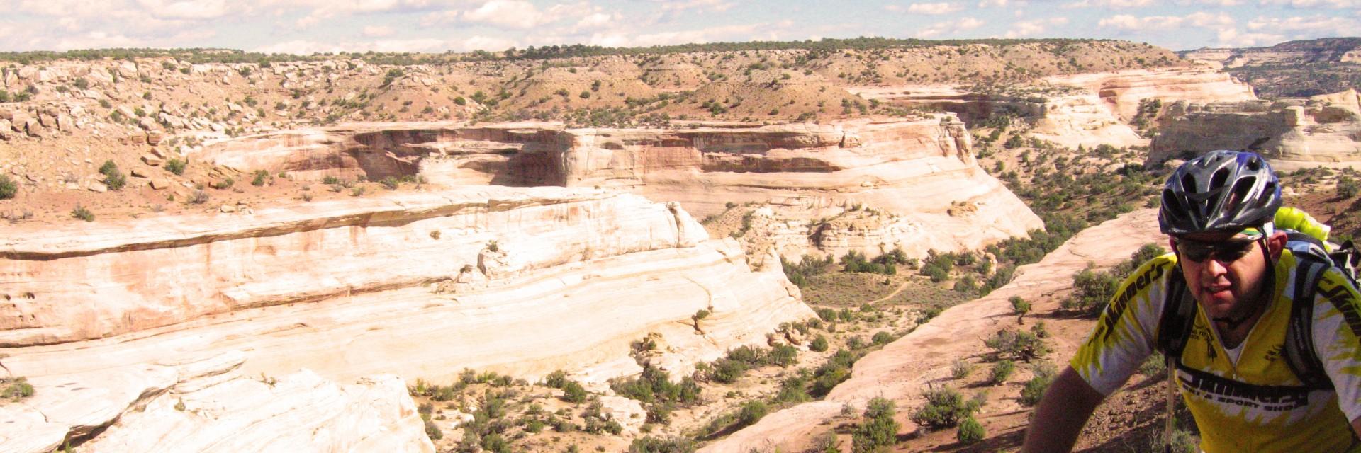 Kokopelli Singletrack above a side canyon off the Colorado River