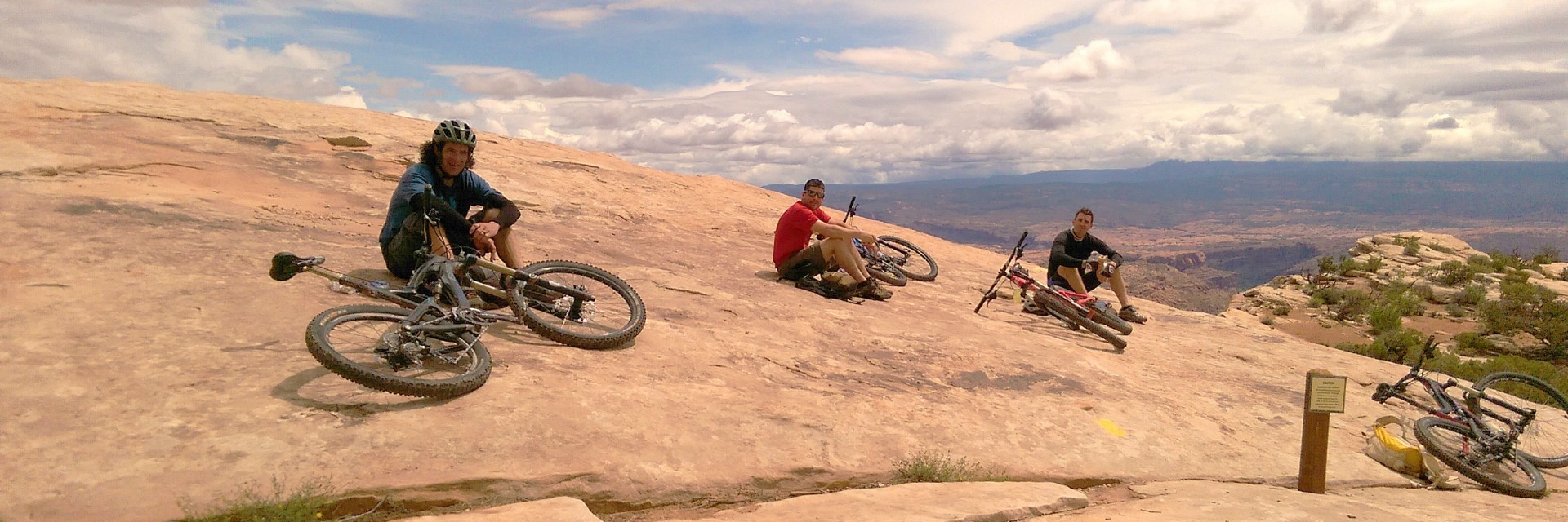 After the big climb up Goldbar Rim, Magnificent 7 Trail, Moab UT
