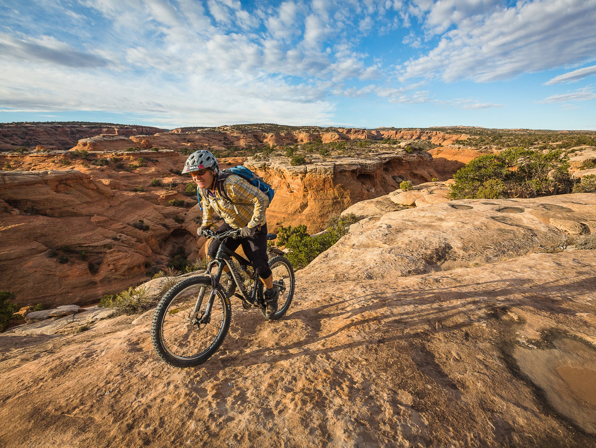 Mountain biking on the Mag 7 trail system near Moab, Utah.