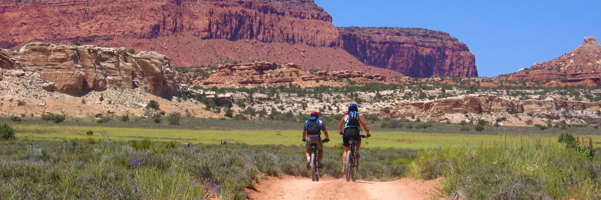 Riding between buttes in The Maze District, Canyonlands NP