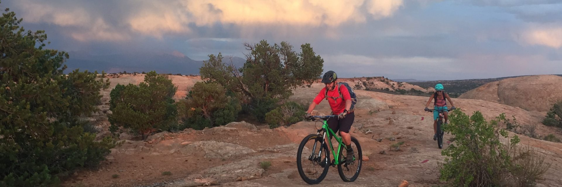 Sunset and alpenglow on the La Sal Mts, behind Rocky Tops, Navajo Rocks Trail, Moab UT