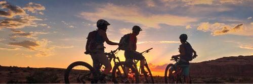 Sunset on riders, Rocky Tops, Navajo Rocks, Intermediate singletrack, Moab UT