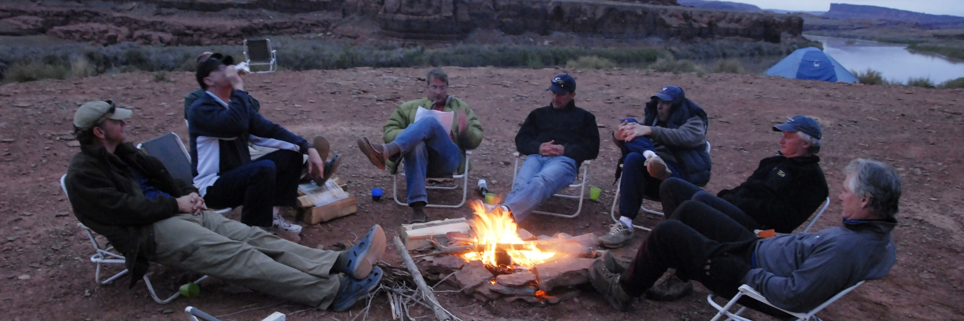 At camp along the Colorado River during a Needles to Moab backcountry weekend guided mountain bike tour