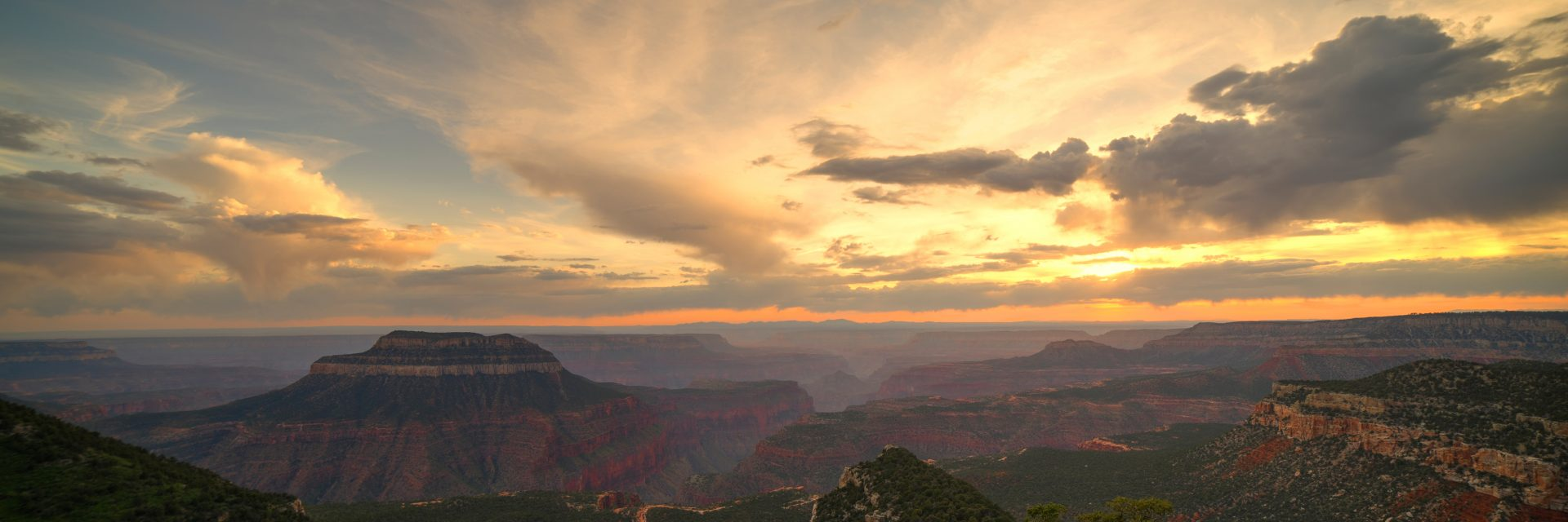 A golden sunset from North Timp Point campground, part of the 5-day guided tour on the Rainbow Rim Trail, North Rim of the Grand Canyon