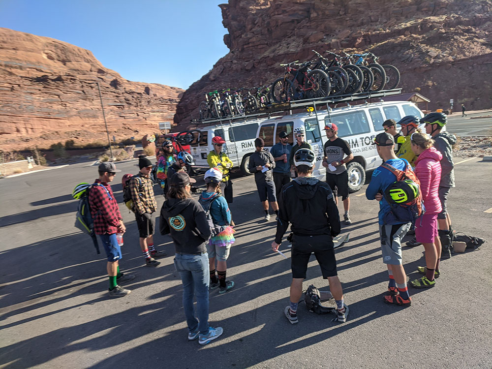 Riders gather for the shuttle