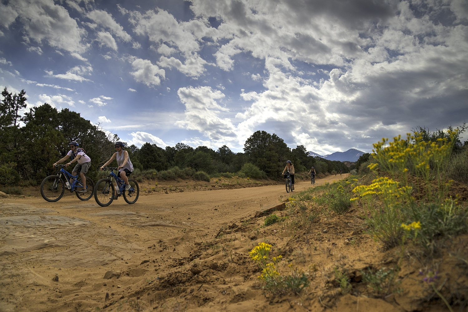 Fall Moab Yellow flowers riders Sandflats
