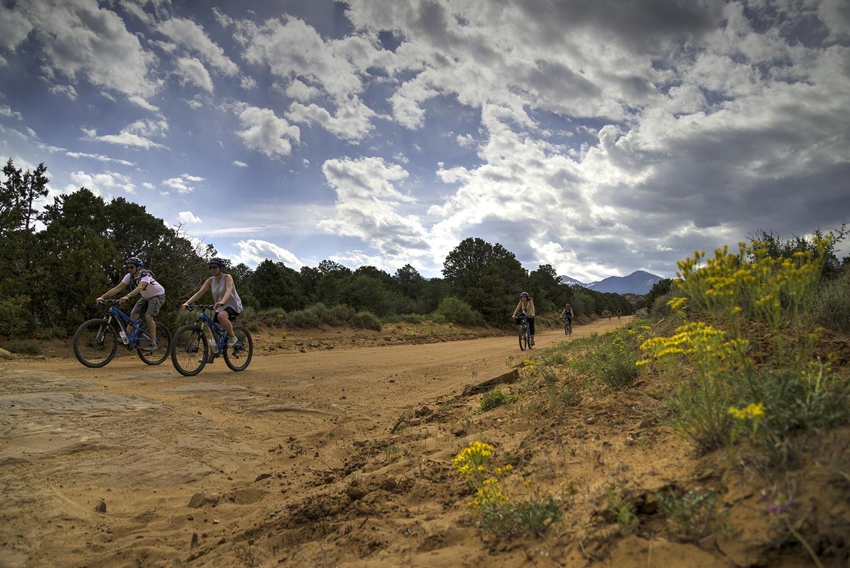 Fall Moab Yellow flowers riders Sandflats