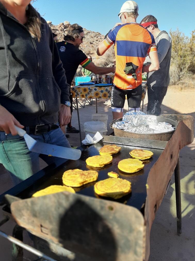 Rest stop breakfast for Moab Mountain Biking Big Ride