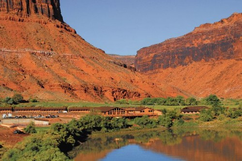 The Red Cliffs Adventure Lodge sits on the banks of the Colorado River 14 miles upstream from Moab UT