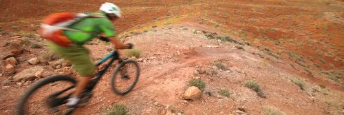 Rider races down a rollercoaster singletrack section on Klonzo Trails north of Moab, UT during a guided mountain bike tour