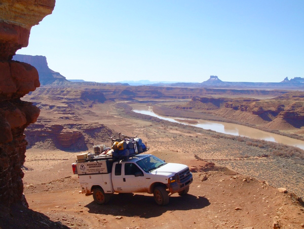 Rim Tours offers vehicle support services for self-guided mountain bike trips in the Moab area