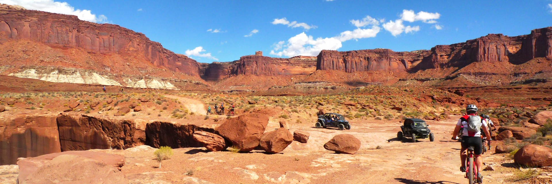 The White Rim Trail is popular with mountain bikers and and jeepers alike.