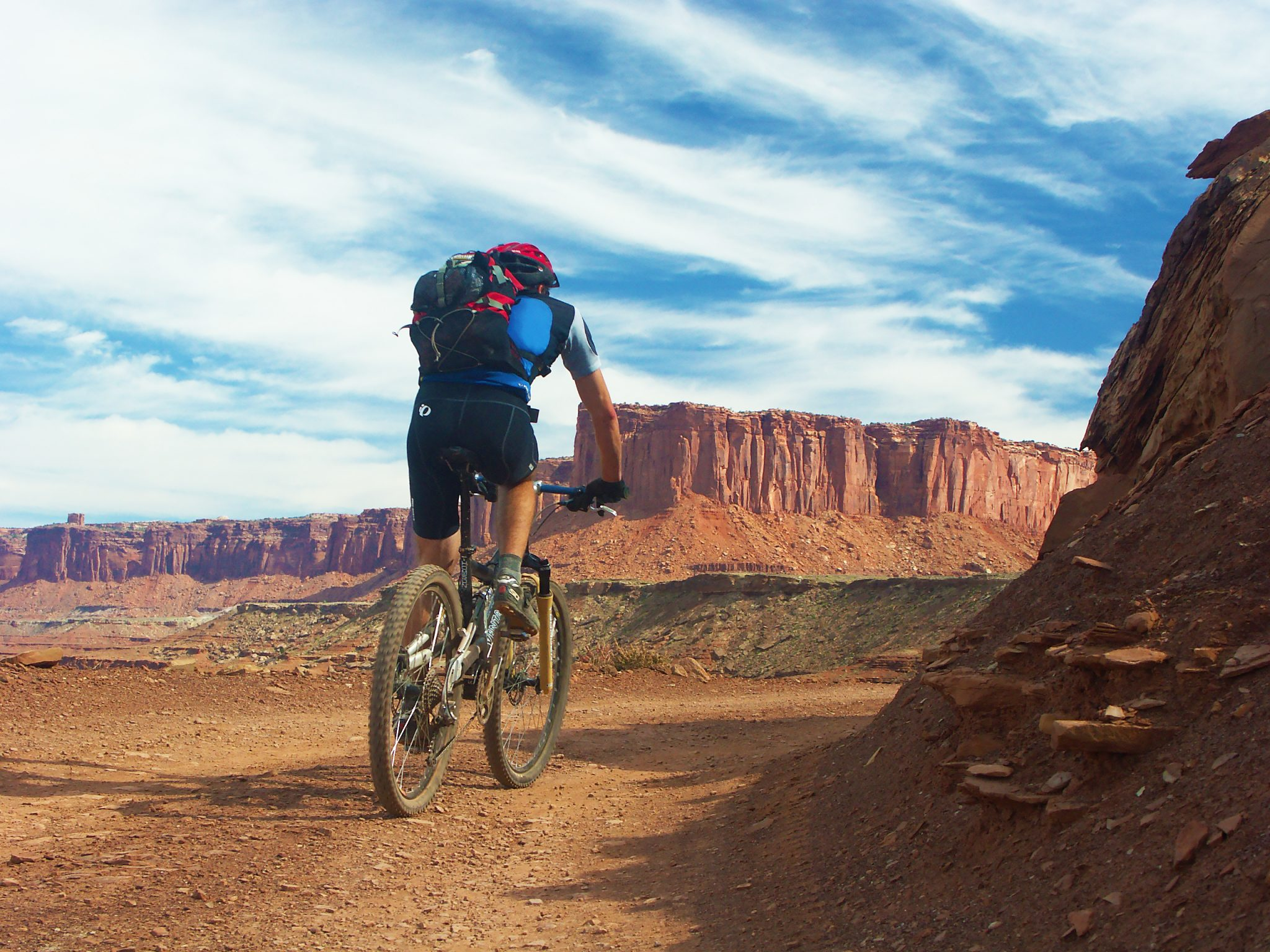 The White Rim Trail in Canyonlands National Park near Moab, UT is a doubletrack route of 85 miles with camping