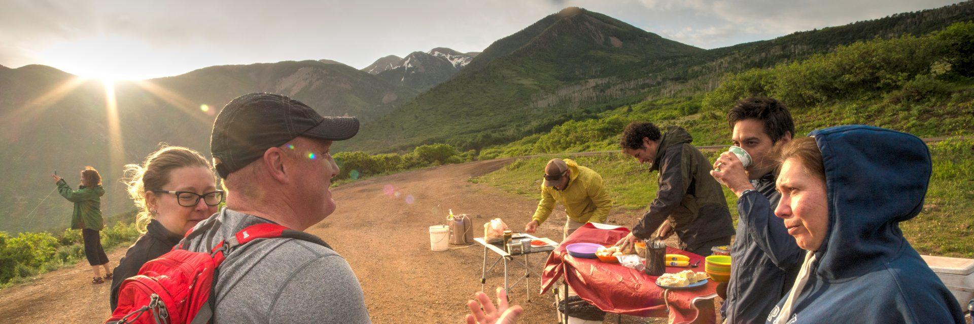 Breakfast preparations, Sunrise Downhill guided mountain bike tour, Moab, UT beginners welcome!