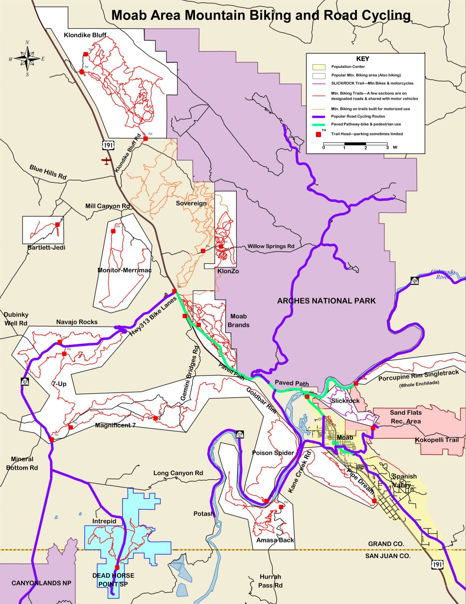 Map of Moab Mountain Bike Trails