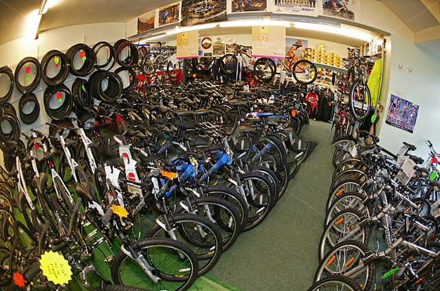 bike shop with mountain bikes